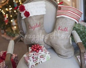 Personalized Burlap Christmas Stocking - Shabby Chic Stocking - 6 Styles to Choose From - Cream & Red Burlap Stocking - Embroidered Stocking