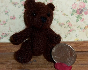 Miniature Crochet Dark Brown Bear Thread Artist Bear  Ready to Ship