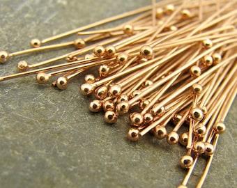 Handmade Ball End Rose Gold Vermeil Headpins - 25 Gauge - 30mm - 100 Pieces - hp25g30r