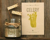 Celery Vegetable Seeded Letterpress Postcard - Plantable Handmade Paper Garden