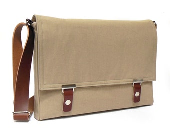 "13"" / 15"" / 17"" MacBook Pro messenger bag - sand brown denim"