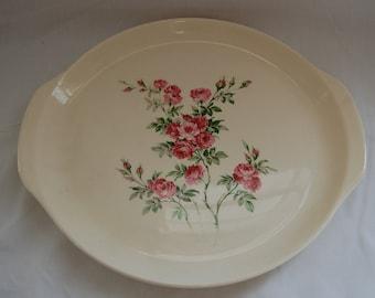 Vintage PInk rose table platter