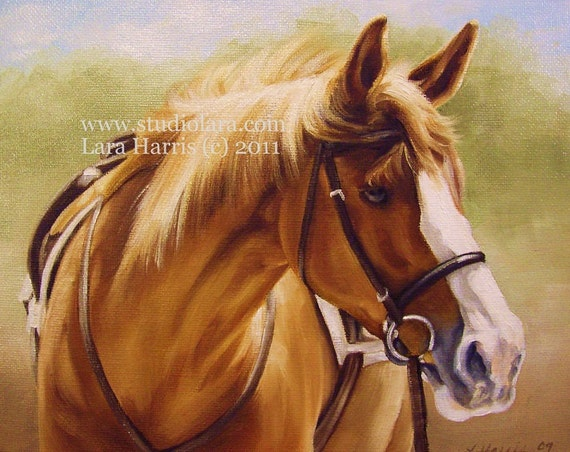 Custom Horse Pet Portrait Painting in Oil by Lara Harris 24x36 Dog FREE SHIPPING Made in USA