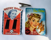 Vintage Hairstyling Accessories/ Betsy Ross Bob Pins and Solo Bow Holder/Barettes/ Beauty /1940's / New Old Stock