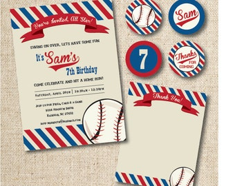 Baseball party invitation, thank you card, party tags/stickers (custom), digital, printable file