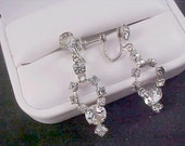 1930's Silver Rhodium Plate~Crystals & Smoky Rhinestone Screw Back Earrings