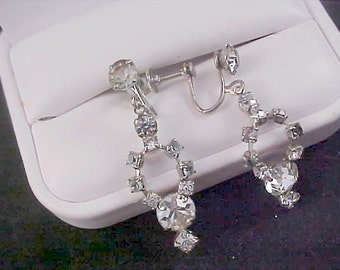 1930's Silver Rhodium Plate~Crystals & Smoky Rhinestone Screw Back Earrings