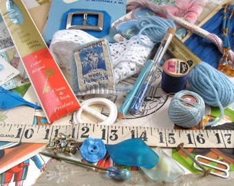 Blue Rhapsody Vintage Inspiration Art Pack, Ready to Repurpose, Ephemera, Sewing Notions, Mixed Media, Collage, Journal Making, Card Making