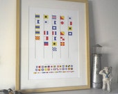 Daddy is the captain of our ship, signal flags print. Can also be personalised.