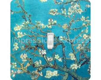 Vincent Van Gogh Almond Branches Painting Square Single Toggle Light Switch Plate Cover