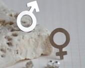Mars & Venus earring studs in sterling silver, boy and girl earring studs handmade in England