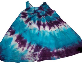 Tie Dyed Turquoise and Deep Purple  Spiral Girls Empire Waist Sun Dress/Jumper/Tunic In Stock and READY TO SHIP