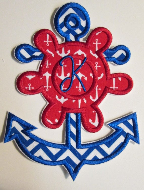Iron On Applique -  Anchor with Initial