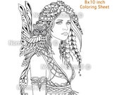 Fairy & Owl Fairy Tangles Digi Coloring Sheet Coloring Page by Norma J Burnell Fairies Owls