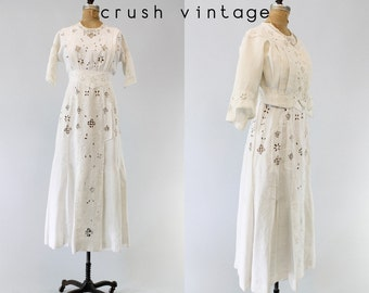 Vintage Edwardian Wedding Dress XS / Antique Dress Battenburg Lace Irish Linen Dress and Jacket /  Bohème Amour Outfit