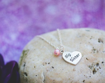 Big Sister new baby welcome sterling silver heart necklace with a birthstone/pearl