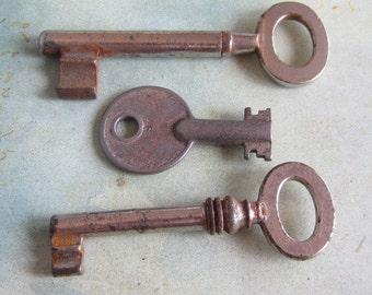 Skeleton Keys - Vintage Antique keys-  Barrel keys- Steampunk - Altered art D44
