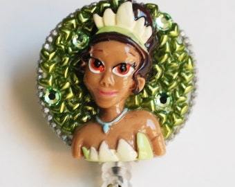 Beautiful Disney Princess Tiana ID Badge Reel - RN ID Badge Holder - Zipperedheart