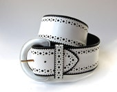 vintage Albert Nipon Wide Perforated White Leather Belt / Made in Italy