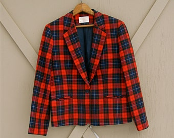vintage Pendleton Red Plaid Wool Blazer