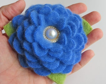 Bright Cerulean Blue Cashmere Flower Brooch Pin with Vintage Earring Center