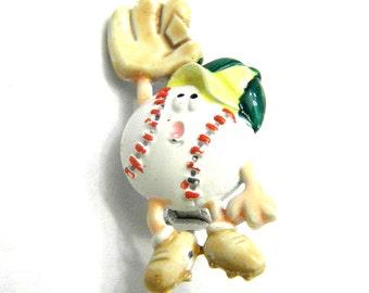 Comical Sports Baseball and Glove Enamel JJ Jonette Pin Vintage