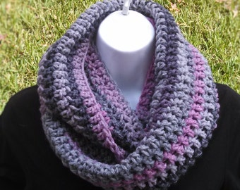Hand Crocheted Pink/Gray Infinity Cowl Scarf Soft Warm Versatile Chunky Great for Winter Circle Scarf Trendy High Fashion