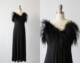 1970s Dress / Marabou Trim Dress / 70s Black Dress / Full Length / Cover Star