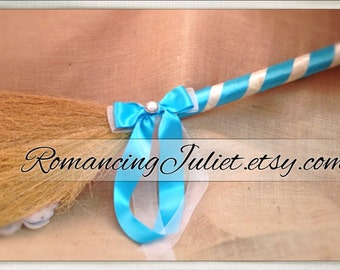 Classic Jump Broom Made in Your Custom Colors with Delicate Pearl Accent ..shown in turquoise/ivory