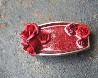 Upcycled Vintage Red Rose Collage Resin Glitter Slider Belt Buckle