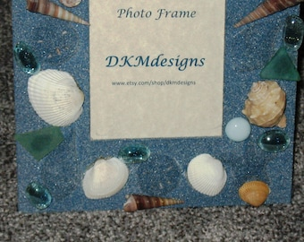 blue gray seashell stone 4 X6 picture frame