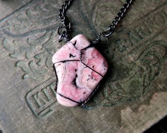 Sterling Silver Rhodochrosite Necklace.  Pink Rhodochrosite Inca Rose and Sterling Silver Amulet.