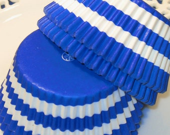 Royal Blue Bold Rugby Stripe Cupcake Liners  (Qty 45)  Royal Blue Stripe Cupcake Liner, Blue Stripe Baking Cups, Blue Stripe Cupcake Wrapper