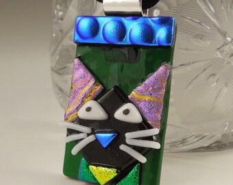 Black Cat - Cat Pendant -Dichroic Fused Glass Jewelry - Kitty Necklace - Cat Jewelry -Feline - Halloween Jewelry X3451