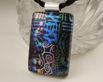 Abstract Mosaic Necklace - Fused Glass - Mosaic Pendant - Dichroic Glass - Rainbow X6900