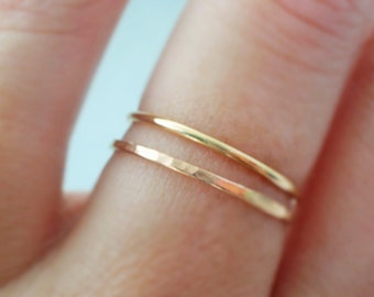 Thin Gold Rings 2 tiny stackable rings thumb ring, knuckle ring or pinky rings spring jewelry