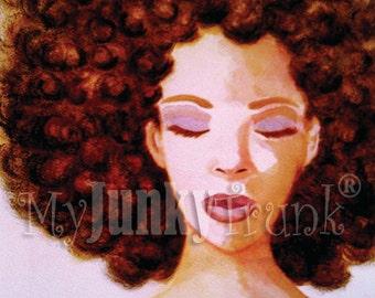 Quiet Place -African American Art Natural Hair Art Black Art Afro Print