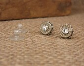 Bullet Jewelry - 9mm Silver Bullet Casing Stud Earrings with DIAMOND Swarovskis - A Girl's Best Friend!  Perfect Stud Size!