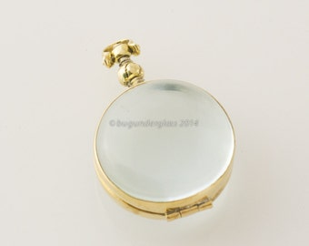 Round Glass Brass Locket Finding Memento 22mm