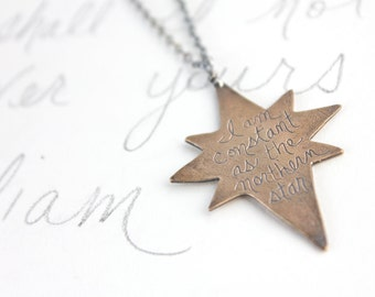 inspirational shakespeare quote jewelry necklace . bronze sterling silver statement necklace long northern star necklace . ready to ship