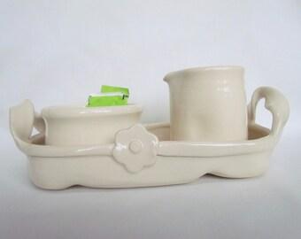 Sugar and Creamer Handmade Pottery Set Off White
