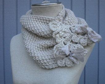 Knitting, scarf, accessories scarf, cowl, warm scarf, neckwarmer, flower brooch, handmade scarf, knit neckwarmer, knit scarf, cowl scarf
