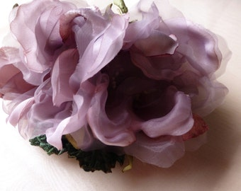 Mauve Double Silk Magnolia Millinery Flower for Bridal, Hats, Corsages, Floral Supply MF
