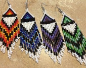 Fire Colors Beaded Earrings