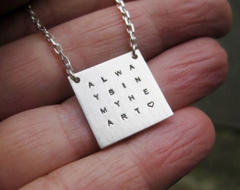Personalized Grid Necklace - Sterling, Stamped, Personalized, Mother, Family, Quote, Wisdom Necklace