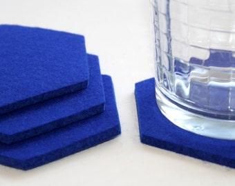 Royal Blue Hexagon Drink Coasters in 5mm Thick Virgin Merino Wool Felt Fabric Eco Friendly Housewarming Hostess Gift Barware
