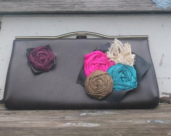 OOAK Retro Brown Clutch With Silk Rosettes