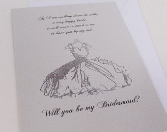 Bridesmaid Invitation - Will you be my- Poem included as shown in listing- Bridesmaids- Maid of Honor- Matron of Honor- FlowerGirl- Dress