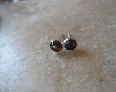 Faceted Garnet and Sterling Silver Stud Earrings