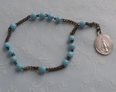 Antique Rosary Bracelet  Molded Turquoise Glass Beads on Bronze Wheat Link Chain